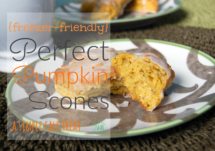 the perfect pumpkin scones!  These are seriously SO good.  And they are freezer friendly!