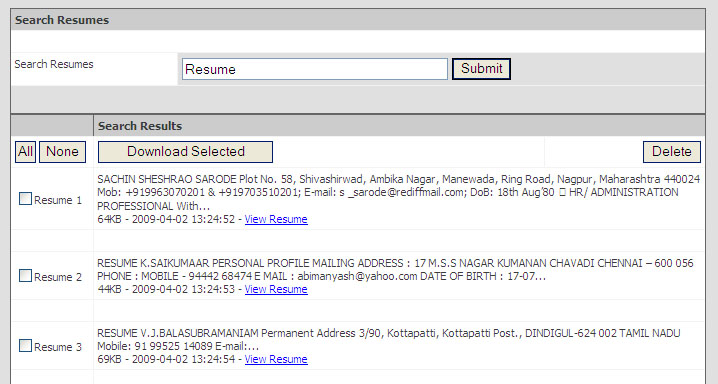 free resume chennai database