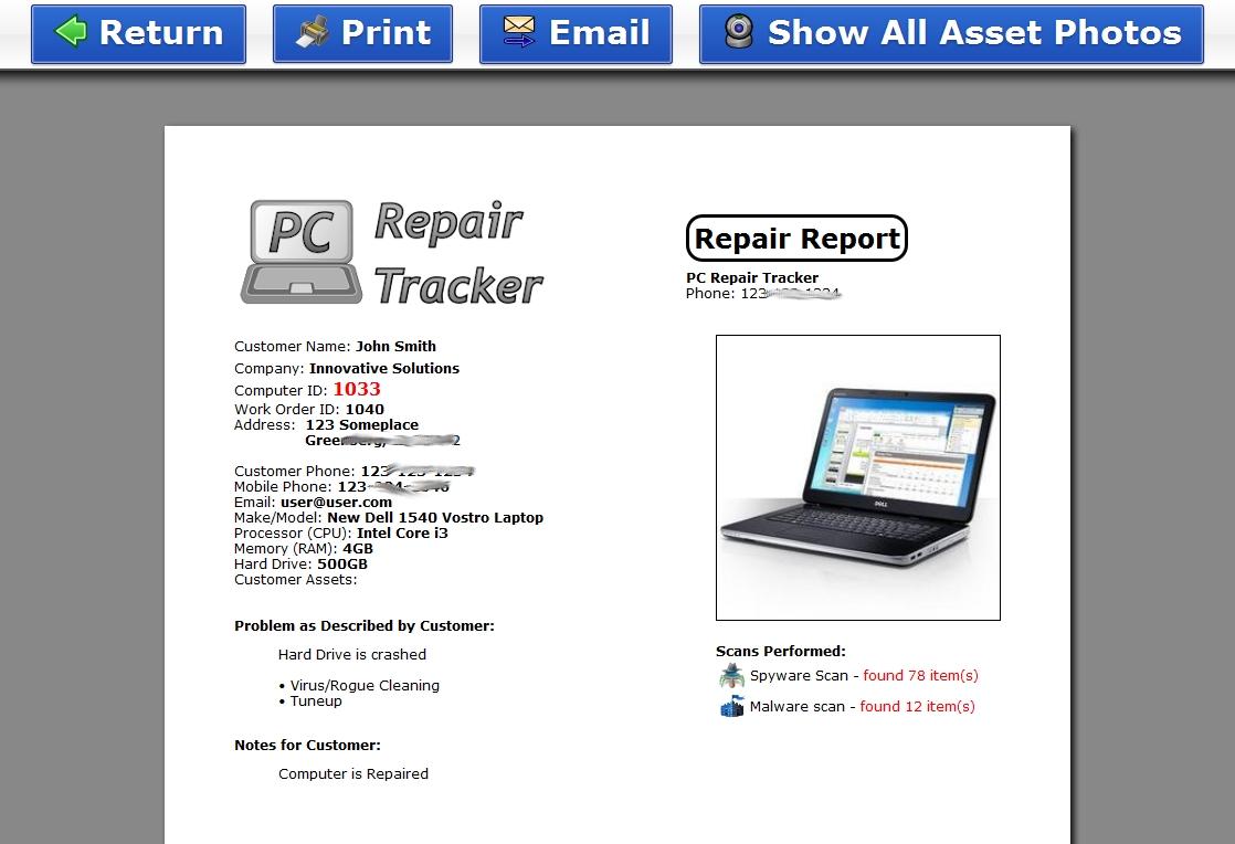 pc repair tracker