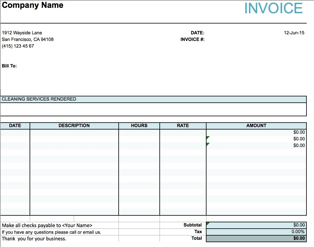 blank invoice for services rendered