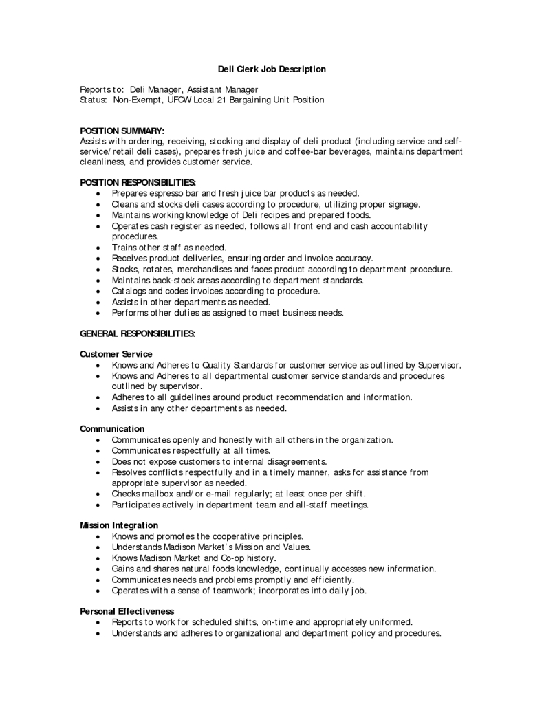job description deli clerk resume