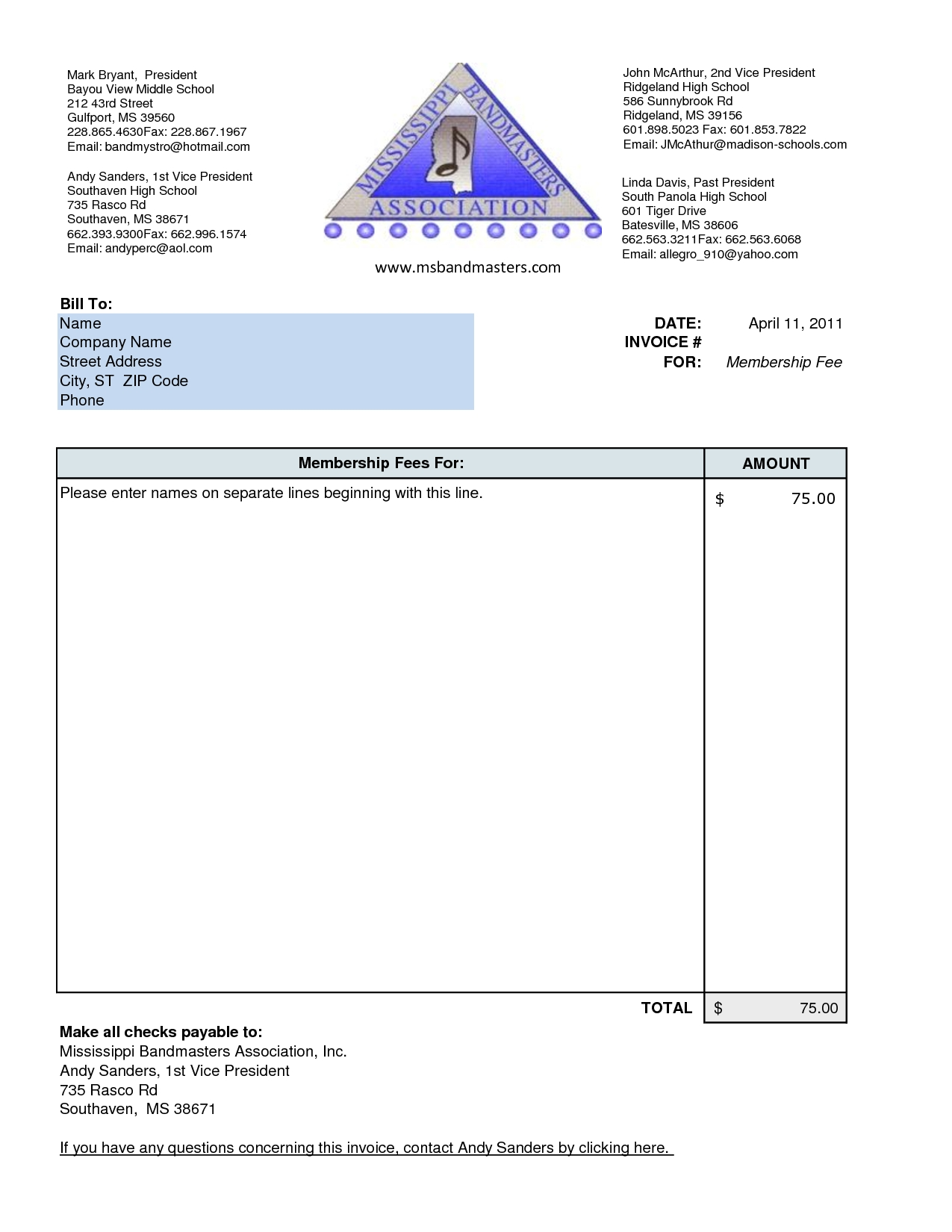 Very Simple Invoice Template – School Invoice Template