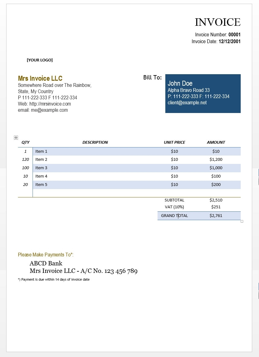 invoice for self employed