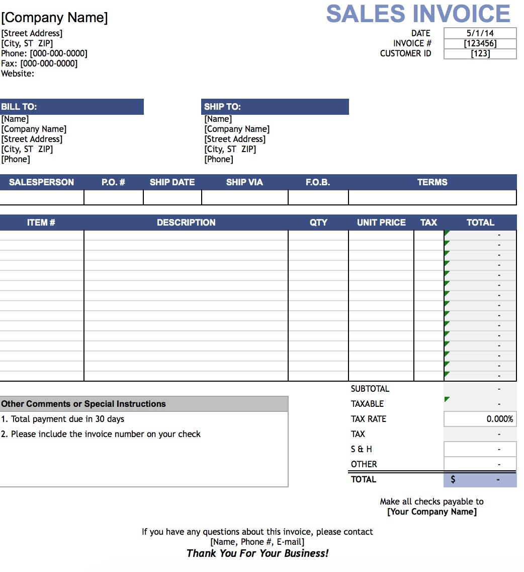 sales invoice template excel 2007