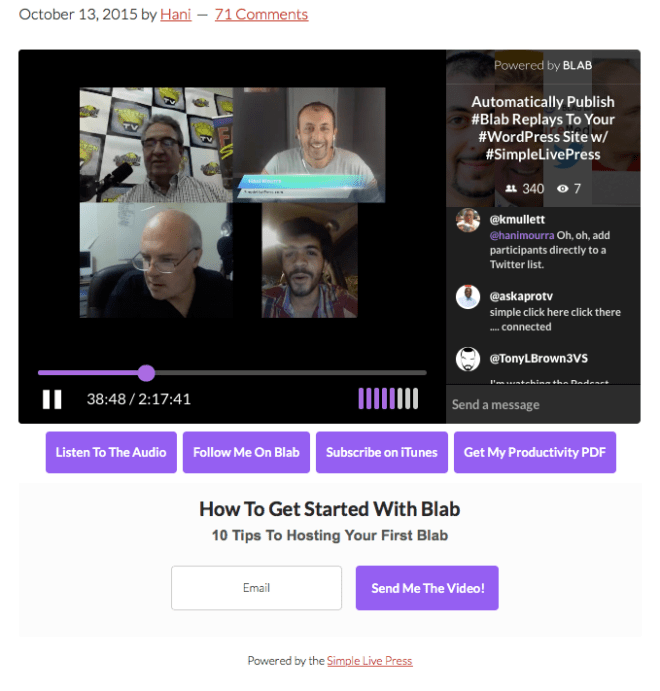 Simple live press for Minimalist living websites