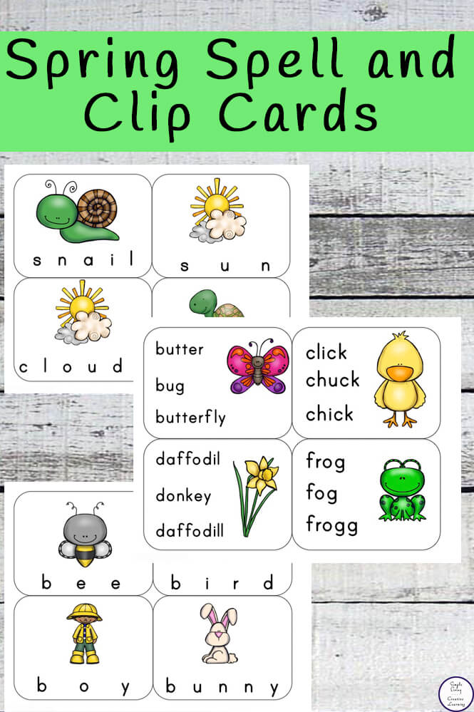 Spring Spell and Clip Cards - Simple Living Creative Learning