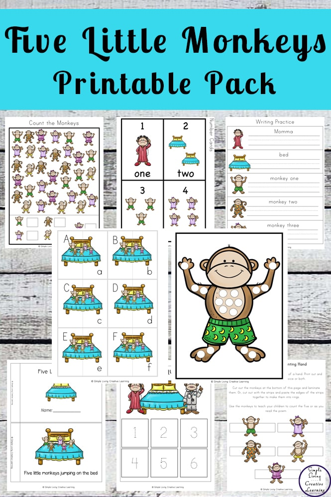 Five Little Monkeys Printable - Simple Living Creative Learning