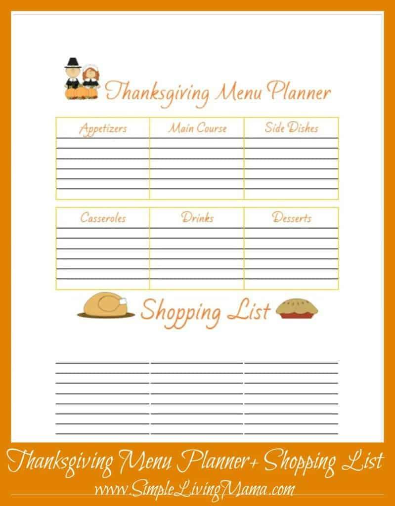 Free Printable Thanksgiving Menu Planner Simple Living Mama