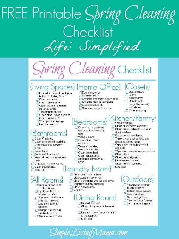 Spring Cleaning Checklist - Life Simplified - Simple Living Mama - spring cleaning checklist