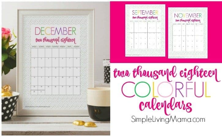 2018 Printable Monthly Calendar - Colorful Design - Simple Living Mama - free printable monthly calendar