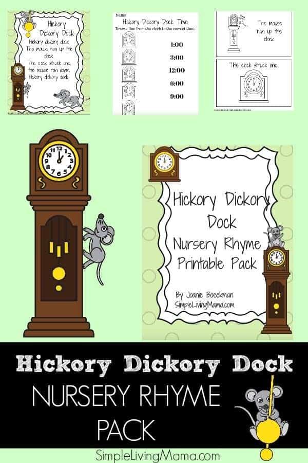 Hickory Dickory Dock Nursery Rhyme Pack for Preschool - Simple