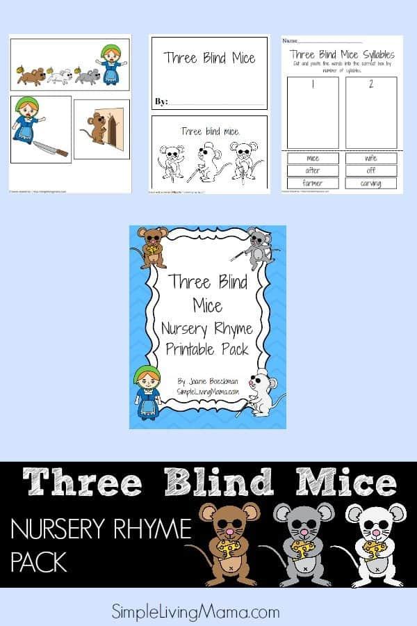 Three Blind Mice Nursery Rhyme Printable Pack for Kids - Simple