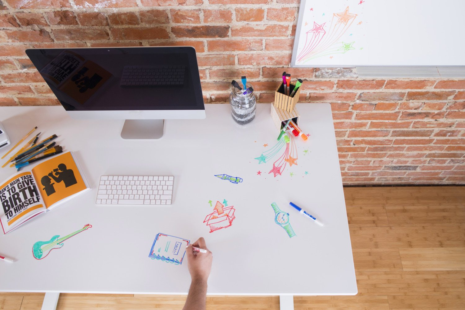 Turn A Wall Into A Whiteboard Whiteboard Deskshield Makes Desk A Dry Erase Board Simplemost