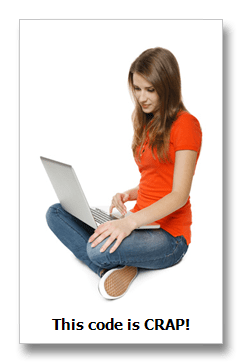 girl looking at readable code