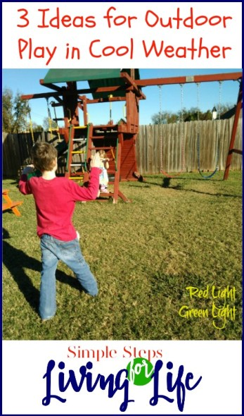 3 Ideas for outdoor play in cool weather. Fun games and things to play outside.