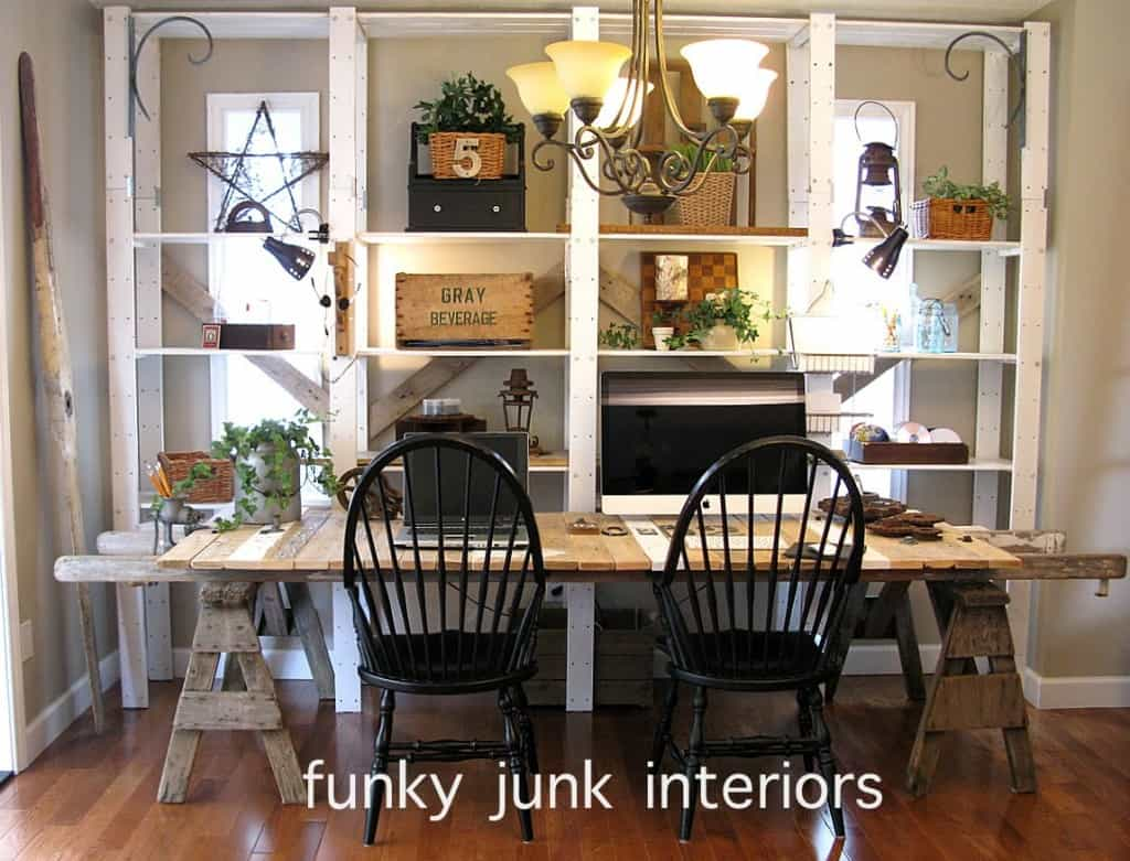 Funky Office Desk Diy Pallet And Sawhorse Desk Tutorial Simple Stylings