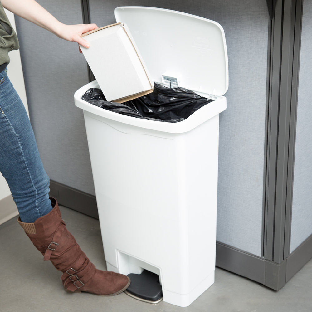 Garbage Bin 8 Gal Step On Garbage Bin White In Household Trash Cans From