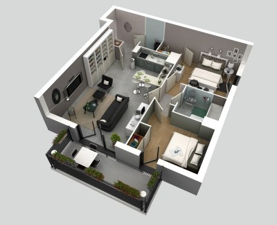 50 3D FLOOR PLANS, LAY-OUT DESIGNS FOR 2 BEDROOM HOUSE OR APARTMENT | simplicity and abstraction...