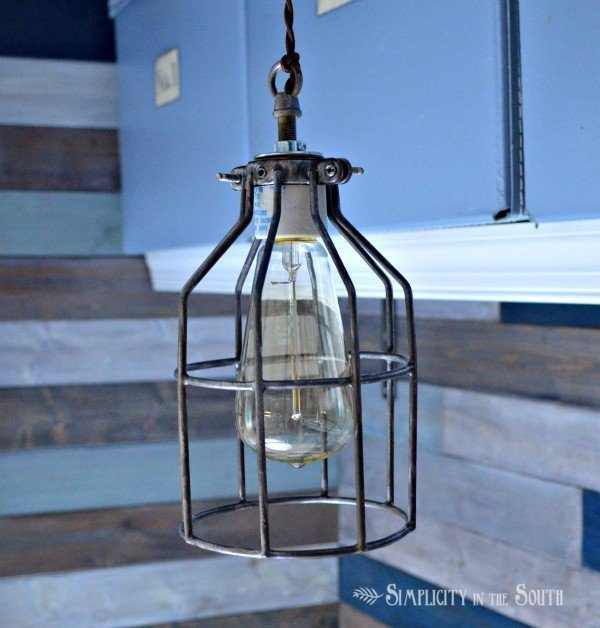 How to make an industrial cage pendant light inspired by Restoration Hardware.- by Simplicity In The South