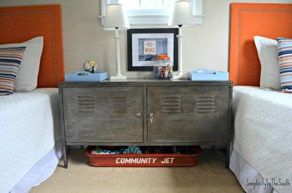 Faux aged steel Ikea cabinet. Boy's shared bedroom by Simplicity In The South.