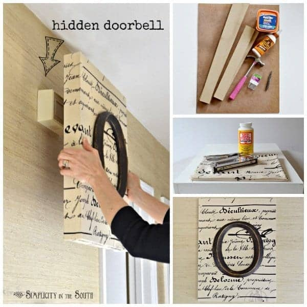 How to make monogrammed and decoupaged art that cleverly hides the doorbell.