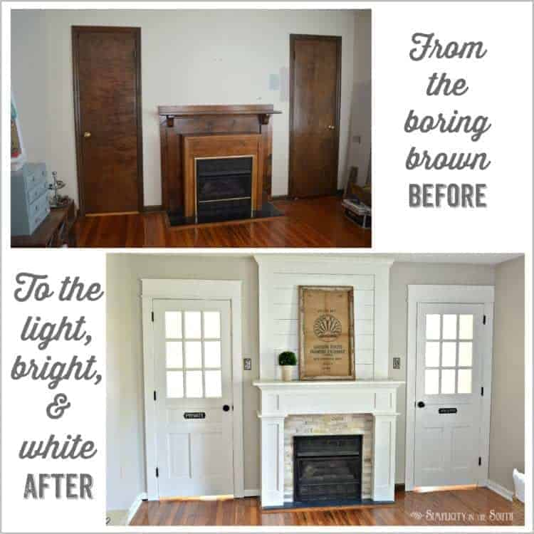 DIY Fireplace Surround Makeover: From the boring brown before to the light bright and white after