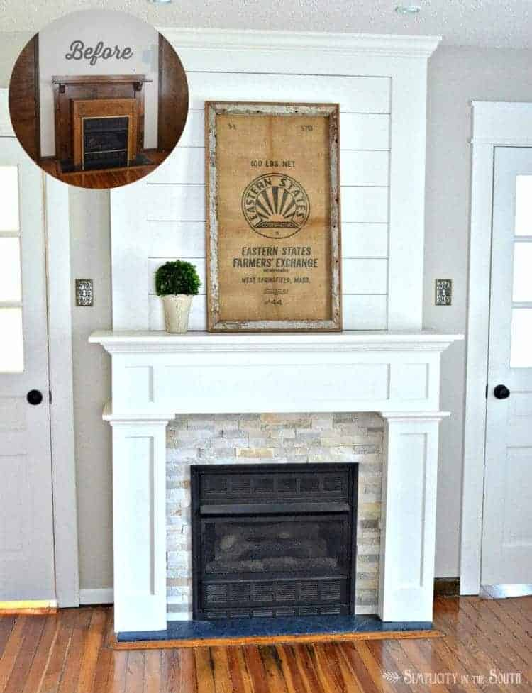 DIY Fireplace surround makeover with shiplap and a simple craftsman style trim. Before and after