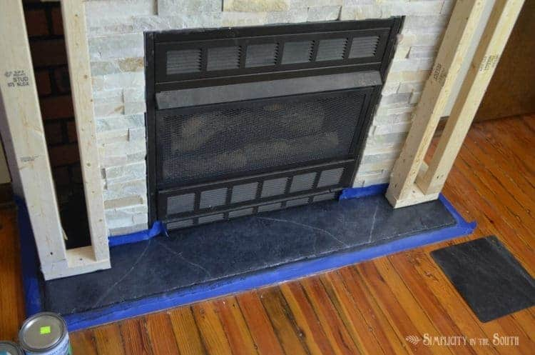 Faux soapstone fireplace hearth with paint