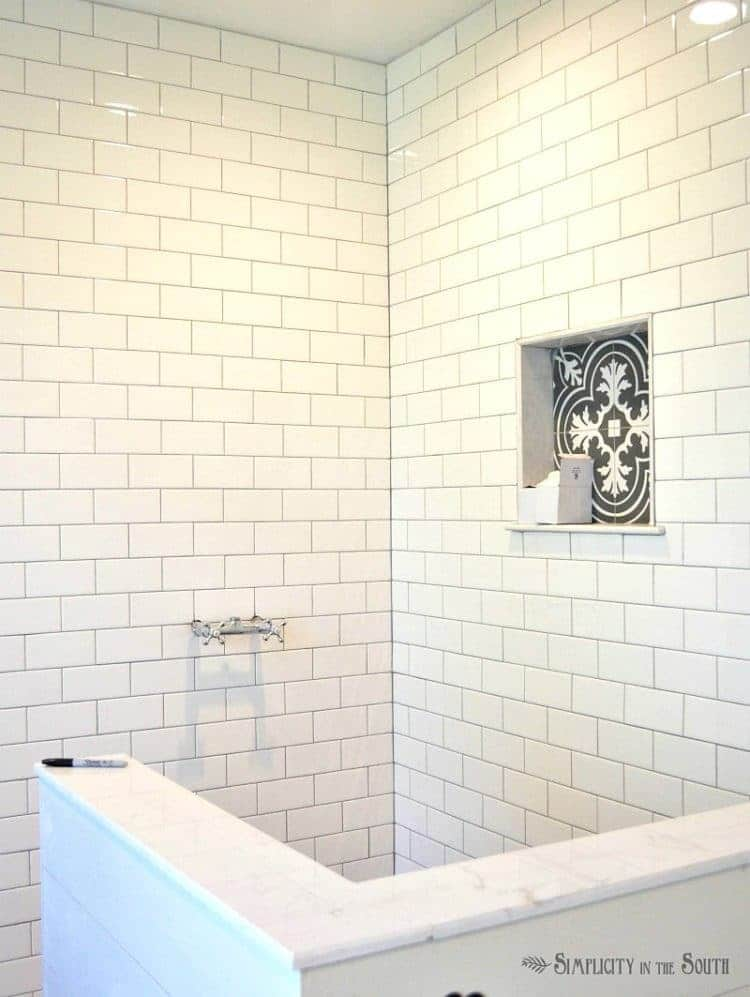 Eclectic Farmhouse Details-Shower stall before glass enclosure