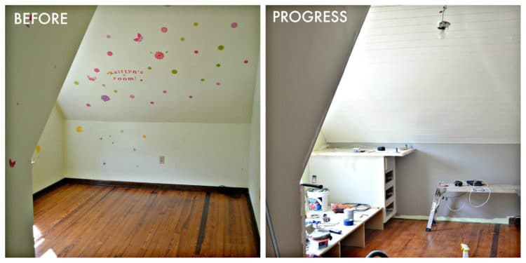 Before and progress picture of planked or shiplap ceiling