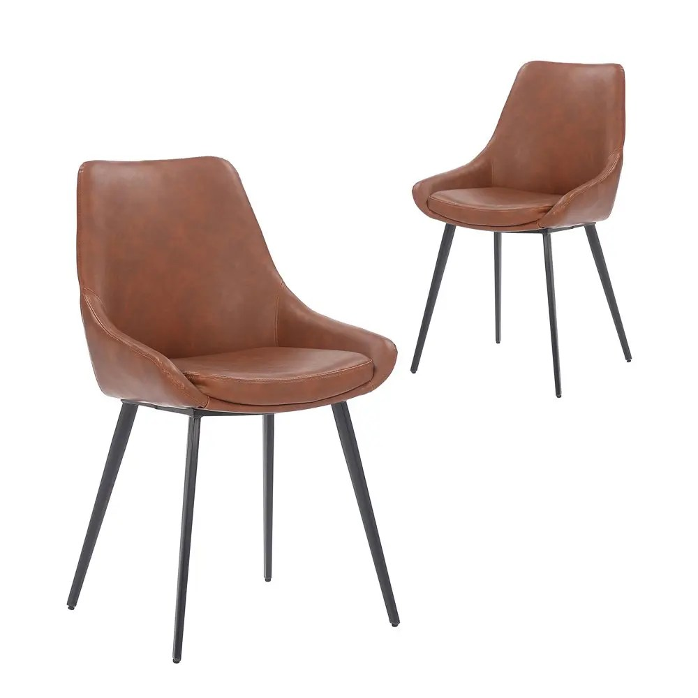 Set Of 2 Daimyo Tan Faux Leather Dining Chair Simplife