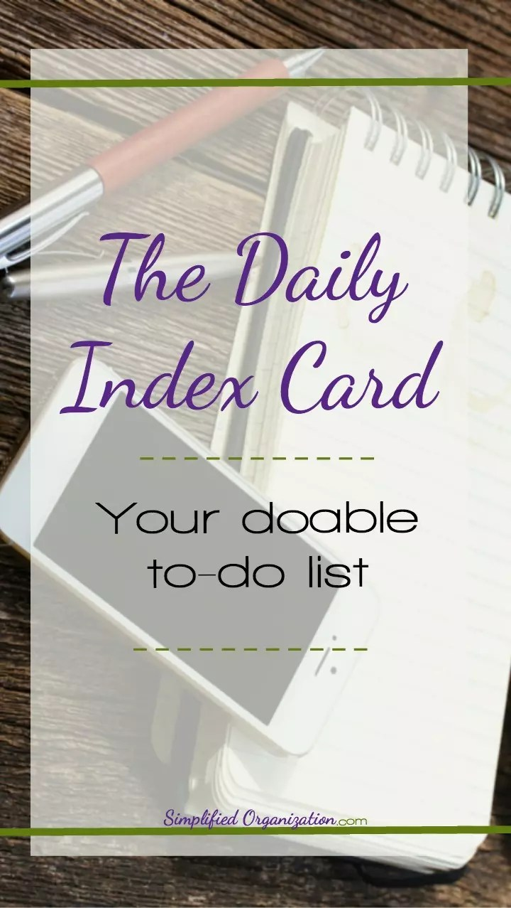 Note Card Cafe Coupon Simplified Organization Tutorial Daily Index Card To Do List
