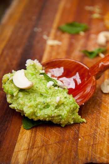 Pea and Cashew Pesto with Feta & Mint