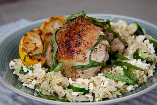 Lemony Chicken on Orzo salad