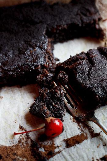Chocolate Brownies with Cherries soaked in Balsamic Vinegar