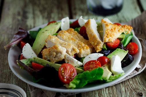 Pecorino crumbed chicken saladPecorino crumbed chicken salad