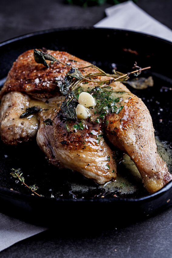Pan roasted chicken with lemon garlic butter - Simply Delicious