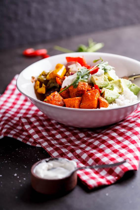 Vegetable burrito bowls (3)