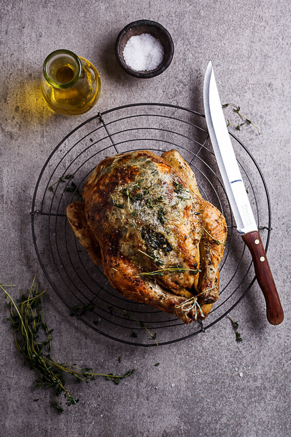 Spinach and feta stuffed roast chicken
