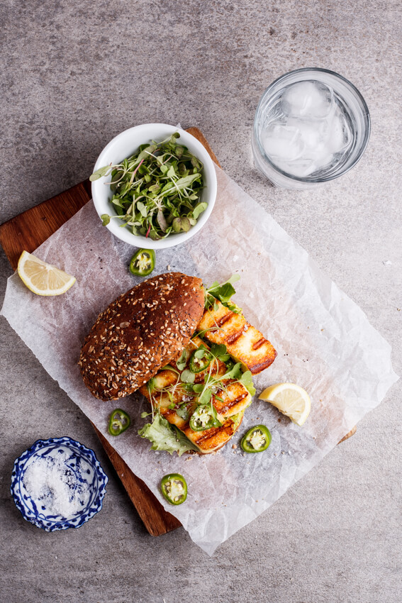 Spicy green goddess sandwich with halloumi