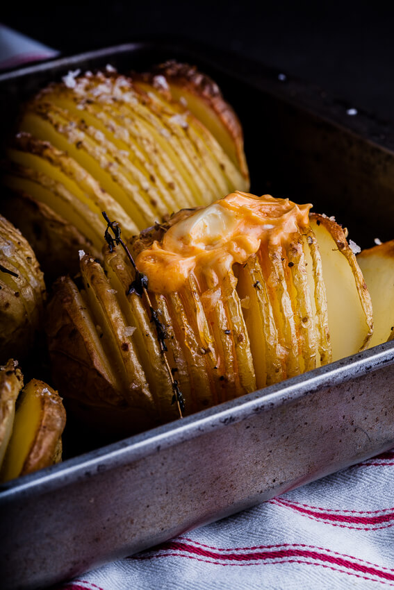 Hasselback potatoes with sriracha butter
