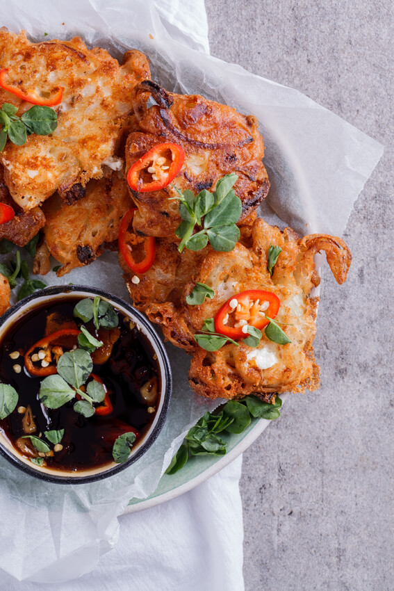 Onion and feta fritters with sweet chilli soy dipping sauce