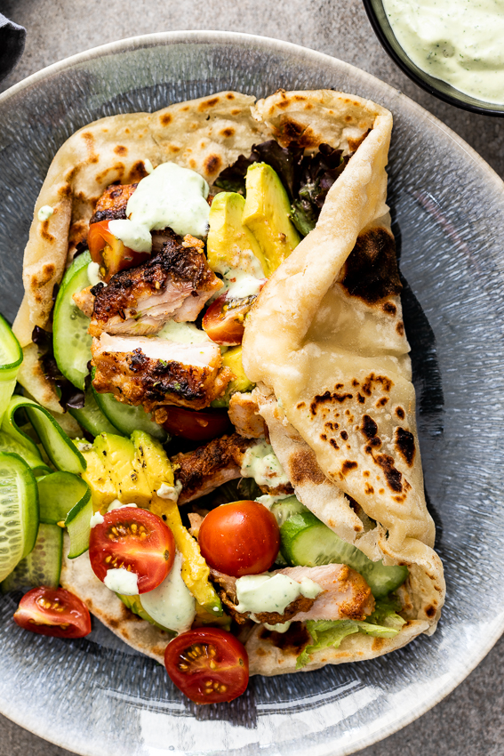 Chicken shawarma with easy flatbread - Simply Delicious