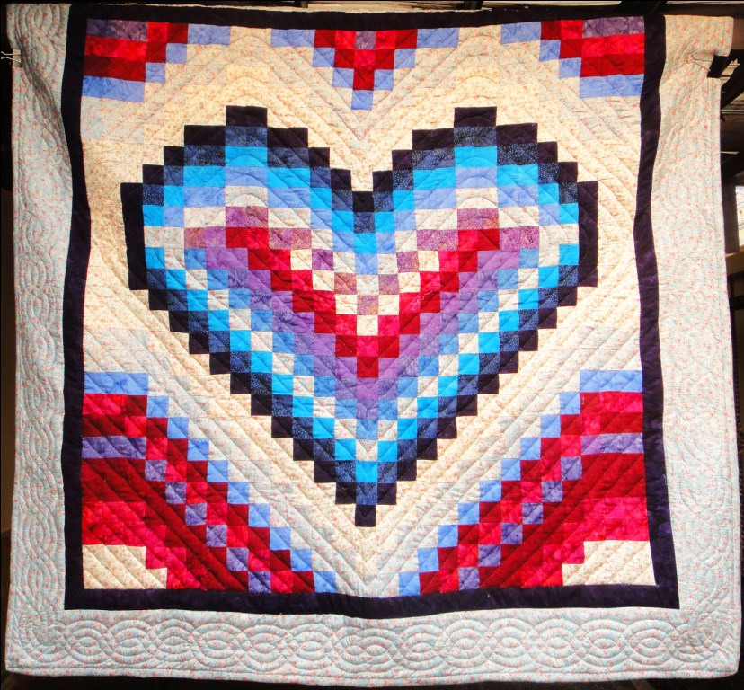 Poinsettia Flower Dogs Bargello Heart - Simply The Best Quilts