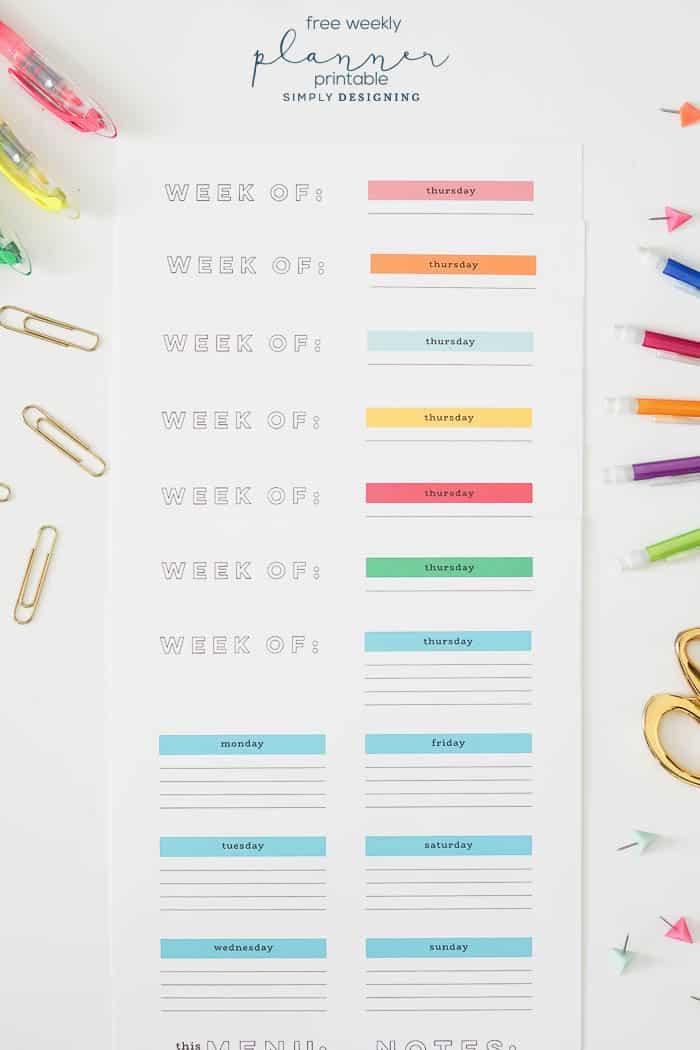 FREE Weekly Printable Planner - free printable weekly planner