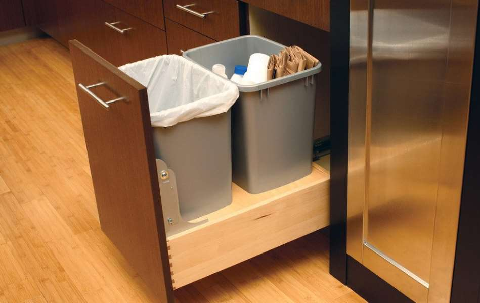 DIY Pull Out Trash Can in a Kitchen Cabinet (Amazing idea) - kitchen trash can ideas