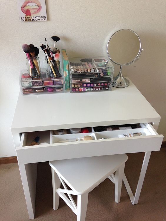 Malm Dressing Table Diy Vanity Mirror With Lights For Bathroom And Makeup Station
