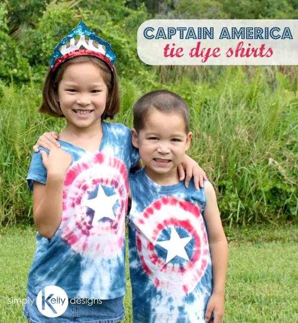 Captain America Tie Dye Shirts   Simply Kelly Designs #CaptainAmeria #patriotic #4thofJuly