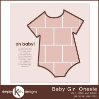 Baby Girl Onesie and Baby Boy Onesie Digital Scrapbook Templates