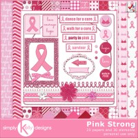 Pink Strong Digital Scrapbook Kit